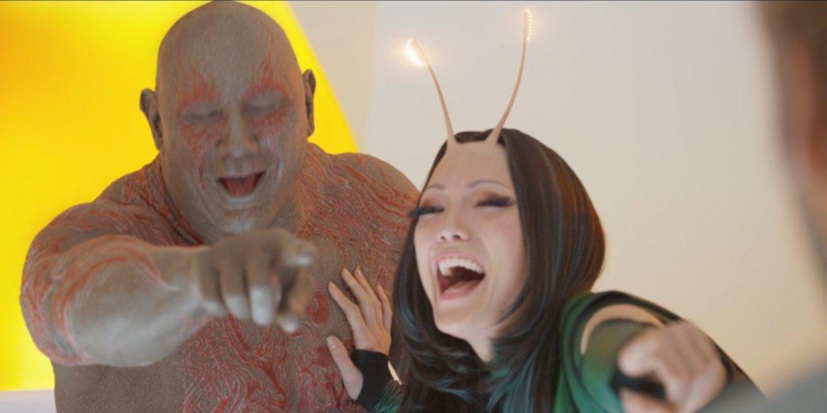 Drax and Mantis sharing a laugh at someone's expense