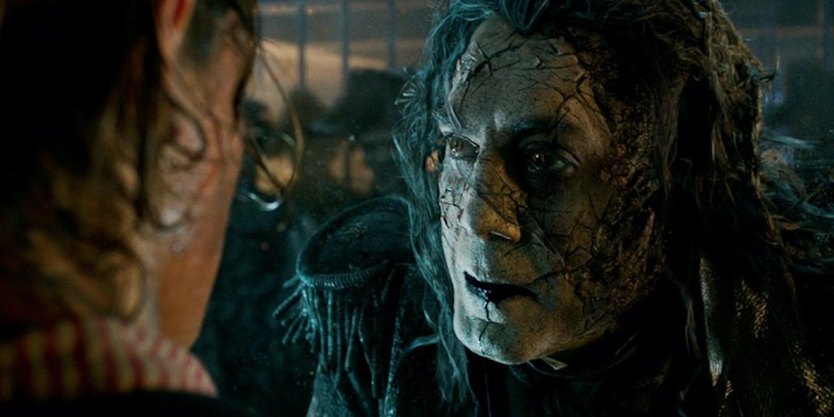 Javier Bardem visits Brenton Thwaites in a jail cell in Pirates of the Caribbean: Dead Men Tell No Tales.