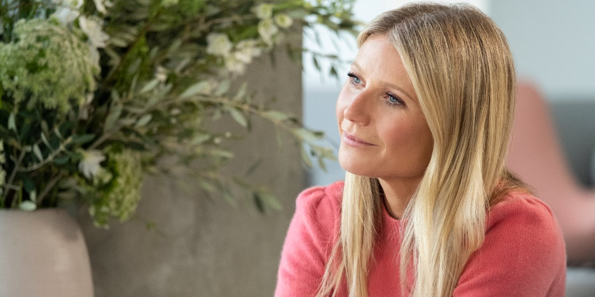 Gwyneth Paltrow sits with her head slightly tilted in The Goop Lab