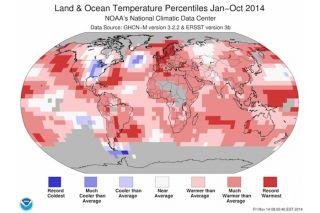 Land/ocean temperature percentiles partial 2014