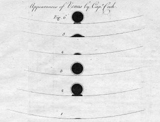 Captain James Cook made these sketches of the transit of Venus as it appeared on June 3, 1769, from Tahiti.