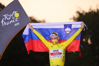 Tadej Pogacar (UAE Team Emirates) celebrates his victory at the 2020 Tour de France in Paris