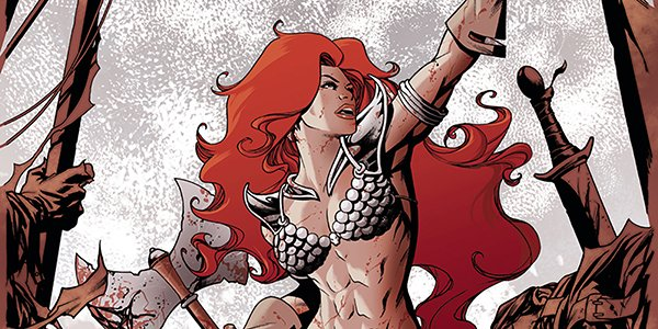 Red Sonja rising up, weapons in hand