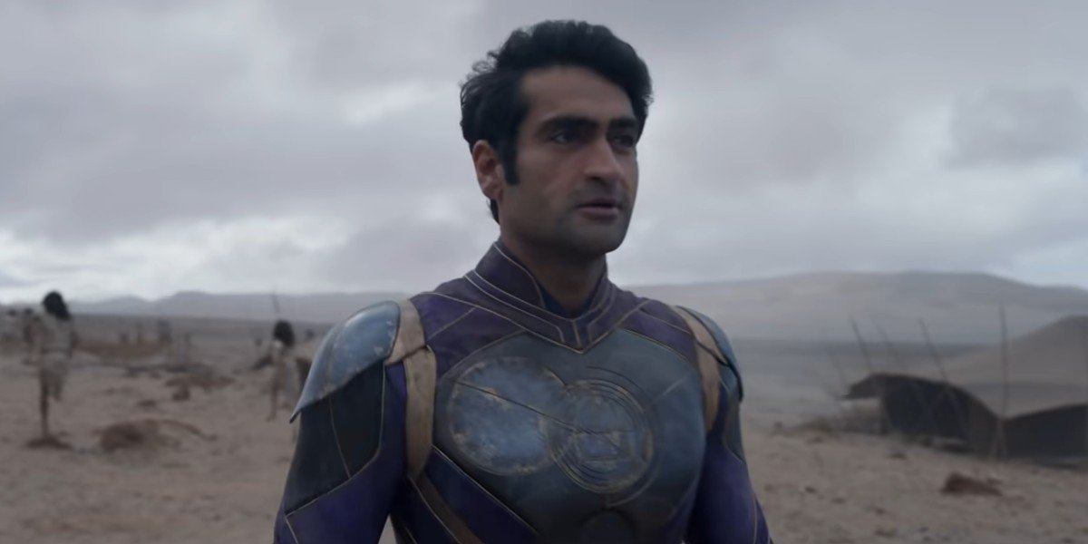 Etenals' Kingo getting ready to attack a vicuous creature sent to terrorize Earthlings in Marvel's Eternals