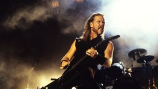 James Hetfield of Metallica performing at Woodstock 94 in Saugerties, New York on August 13, 1994