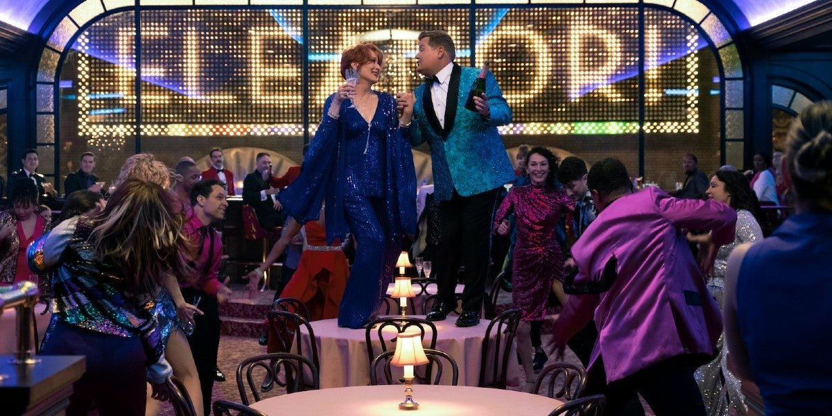 Meryl Streep and James Corden in Prom on Netflix.
