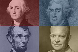 A new contest aims to reveal the most science-friendly president. Shown here, George Washington, Thomas, Jefferson, Abraham Lincoln and Dwight Eisenhower.