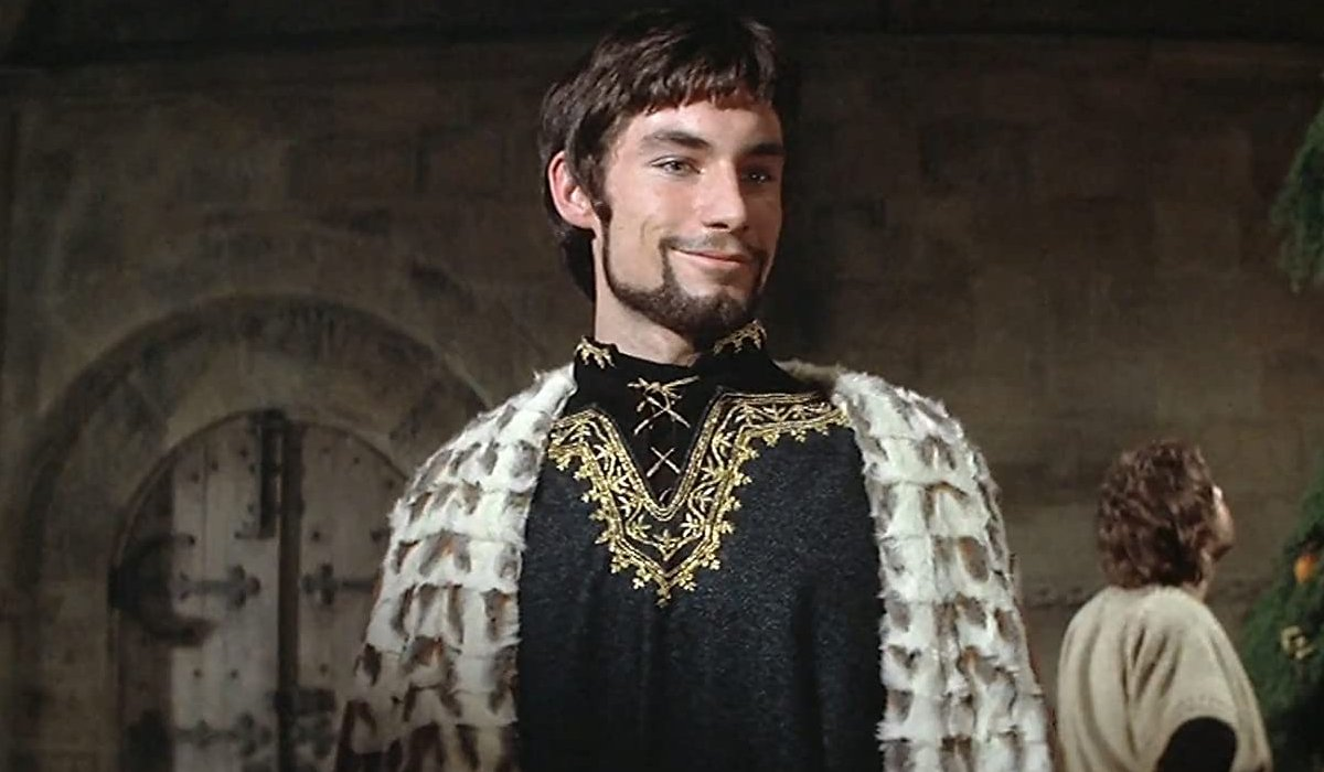 The Lion In Winter Timothy Dalton smiling in medieval garb