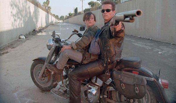 Terminator 2: Judgement Day Arnold Schwarzenegger aims his shotgun at the screen