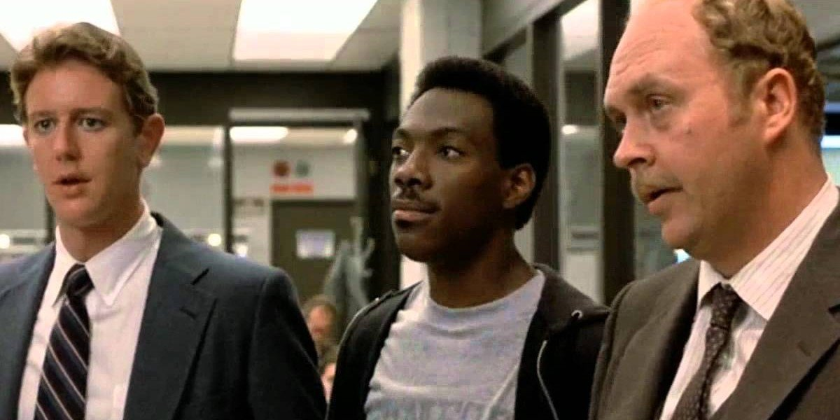 Judge Reinhold as Billy Rosewood, Eddie Murphy as Axel Foley and John Ashton as John Taggart in Beverly Hills Cop (1984)