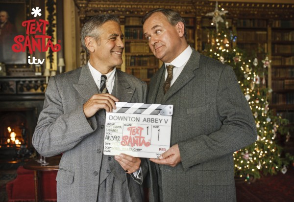 A picture of George Clooney and Hugh Bonneville on the set of Downton Abbey