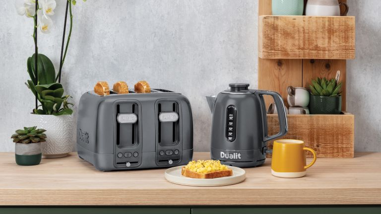 Best kettle: Dualit Domus Kettle and toaster on side