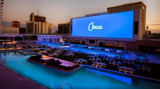 A Daktronics video wall at Circa's Stadium Swim measures 41 feet high by 135 feet wide for a total of 5,535 sq. ft. of digital real estate.