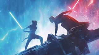 Rey and Kylo Ren in lightsaber duel in Star Wars: The Rise of Skywalker poster
