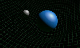 Illustration of gravity and the fabric of space-time.