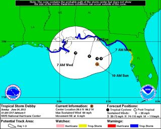 The forecast path of Tropical Storm Debby