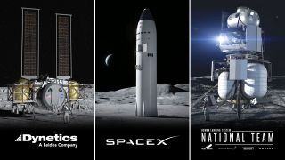 NASA has selected a Blue Origin-led team, Dynetics and SpaceX's Starship to develop new moon landers for astronauts for the agency's Artemis lunar program.