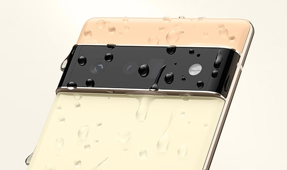 Pixel 6 image covered in water droplets