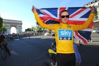 Bradley Wiggins (Team Sky) celebrates victory at the 2012 Tour de France in Paris
