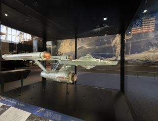 "The USS Enterprise from the original ""Star Trek"" TV series is seen fully restored and on display at the Smithsonian's National Air and Space Museum in Washington, D.C."