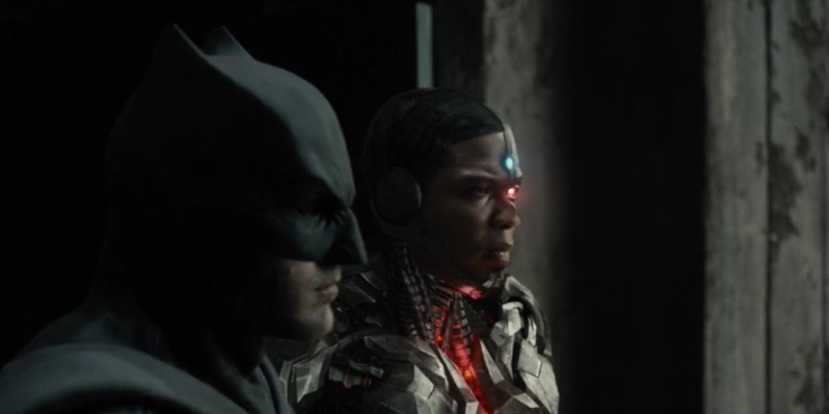 Ben Affleck as Batman and Ray Fisher as Cyborg in Zack Snyder's Justice League