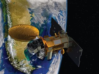 Artist's concept of the Aquarius/SAC-D spacecraft, a satellite designed to study the salt levels in Earth's oceans.