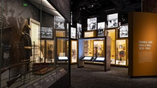 Visitors to the Tennessee State Museum explore artifacts and images with touchscreen displays.