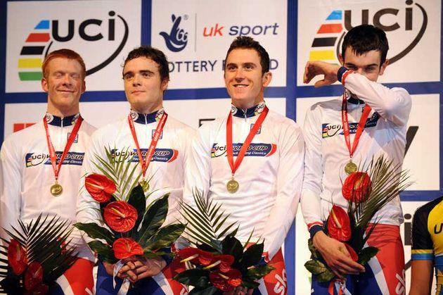 Team GB men's team pursuit quartet gold medalists Ed Clancy, Geraint Thomas, Steven Burke, Andy Tennant 2009 Manchester world cup.jpg