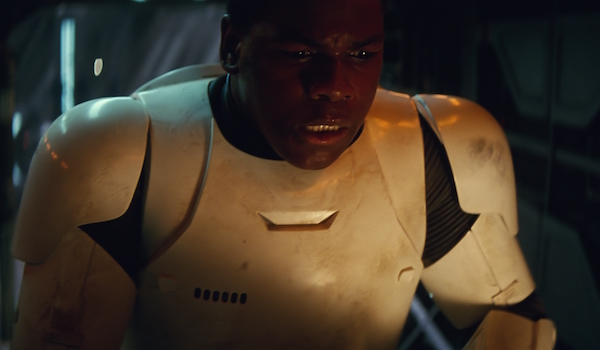 Finn as stormtrooper in The Force Awakens