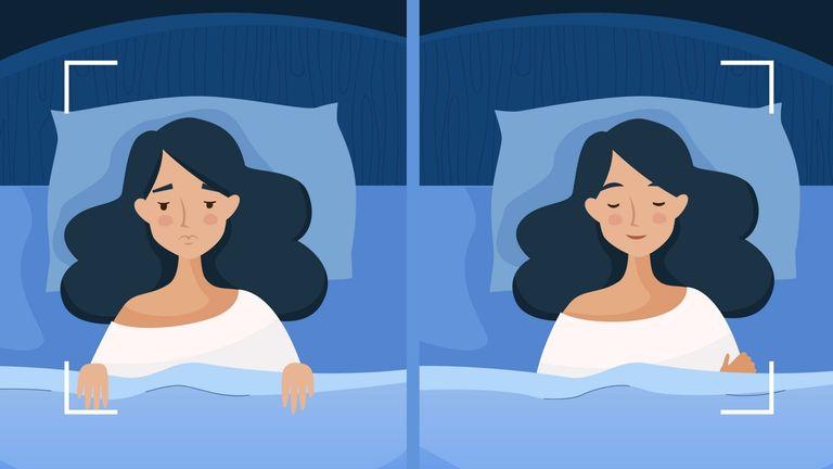 sleepless woman and sleeping woman illustration