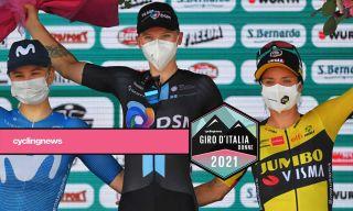 Lorena Wiebes on the podium of the Giro d'Italia Donne