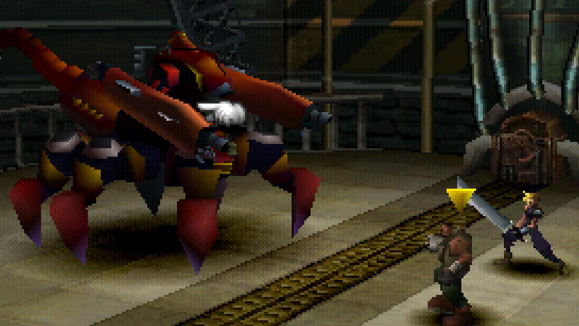 Two men fighting a scorpion robot