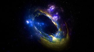 Space background showing a black hole and galaxy.