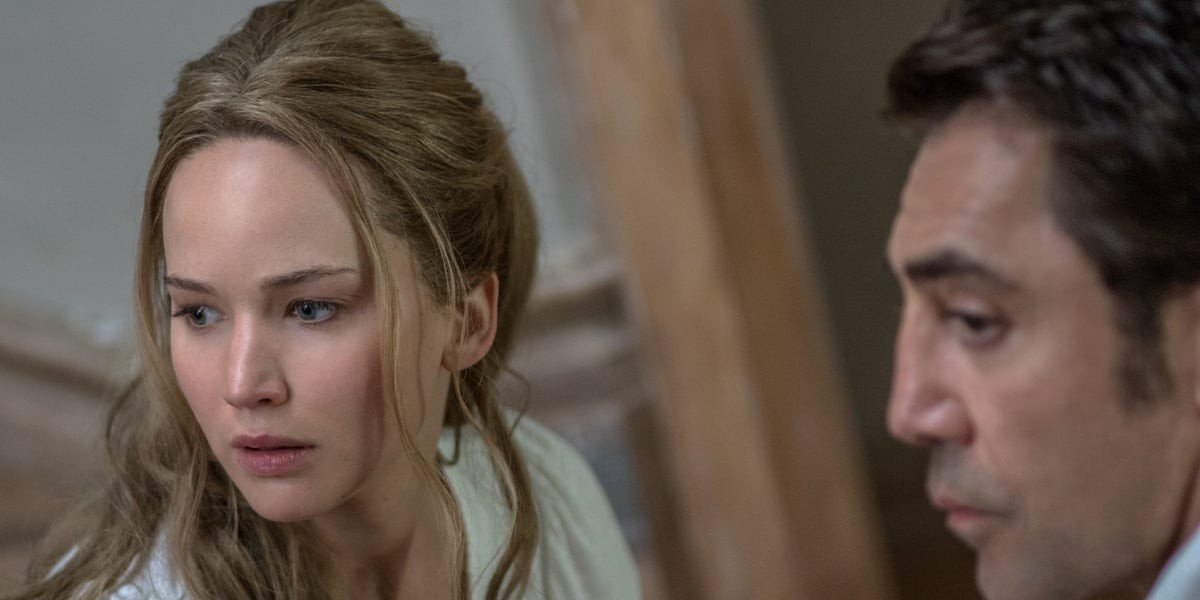Jennifer Lawrence on the left, Javier Bardem on the right