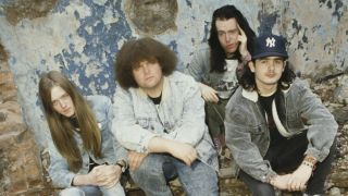 A photograph of Napalm Death in 1988