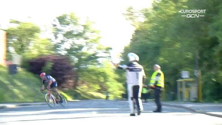 Bert Van Moer takes a wrong turn at the 2021 Ronde van Limburg