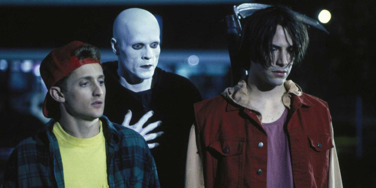 Alex Winter, William Sadler, and Keanu Reeves in Bill & Ted's Bogus Journey