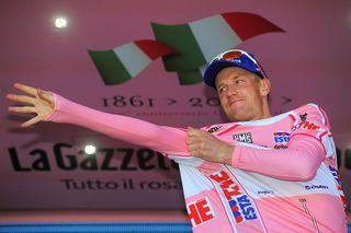 Cycling : 94th Giro Italia 2011/ Stage 5 Podium / WEENING Pieter (NED) Pink Jersey / Celebration Joie Vreugde / Piombino - Orvieto (191 Km)/ Tour of Italie / Tour d'Italie / d'Italia / Ronde van Italie / Etape Rit/(c)Tim De Waele