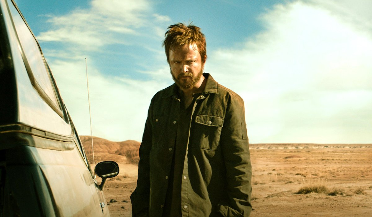 Aaron Paul as Jesse Pinkman outside car El Camino: A Breaking Bad Movie