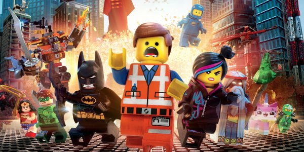 The LEGO Movie full cast fleeing an explosion