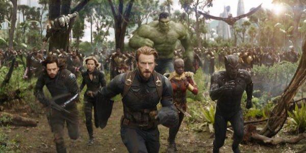 Avengers running toward screen