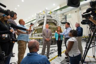 NASA KSC Director Cabana and Orion Capsule