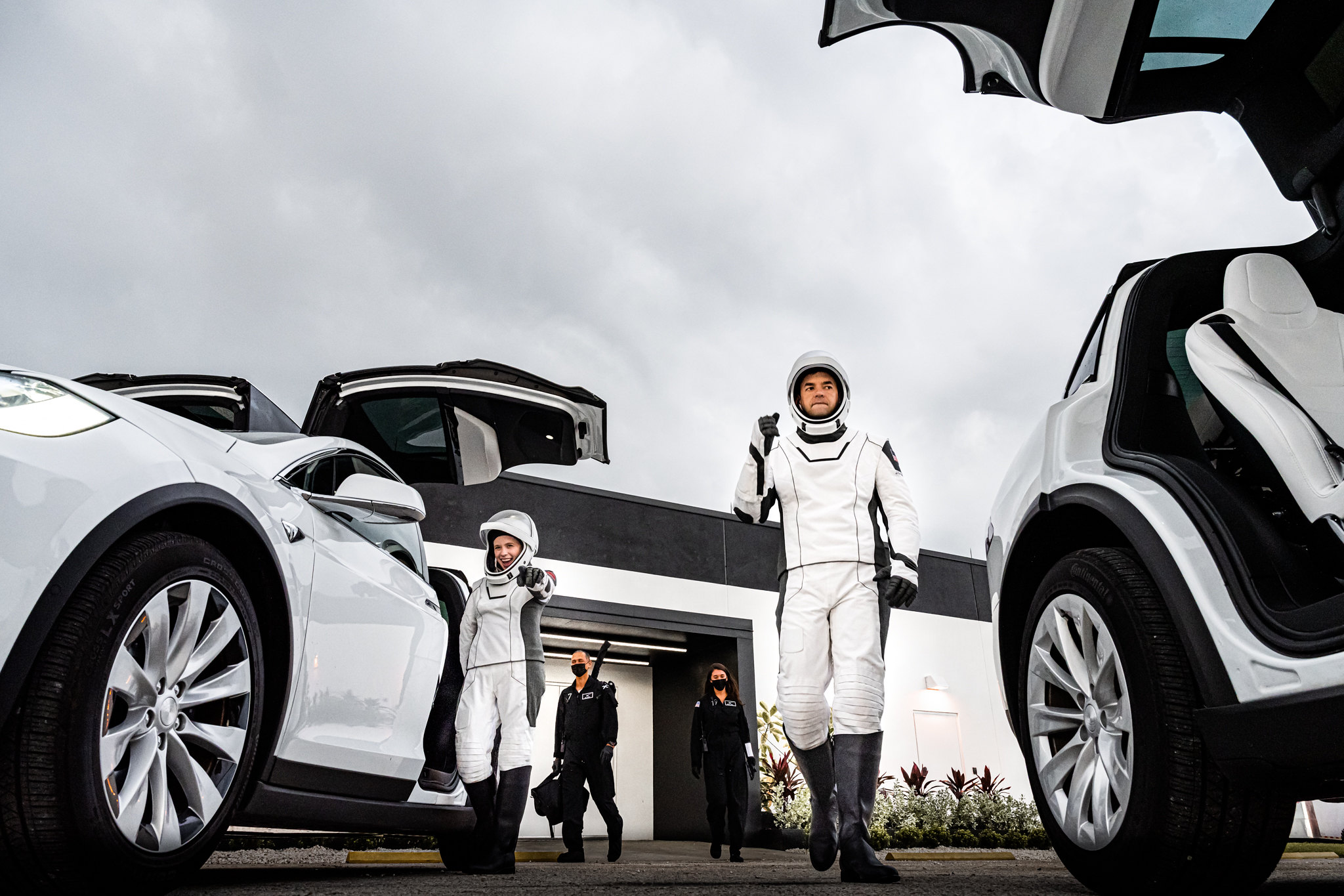 The Inspiration4 crew board their Teslas during a launch rehearsal on Sept. 12, 2021.