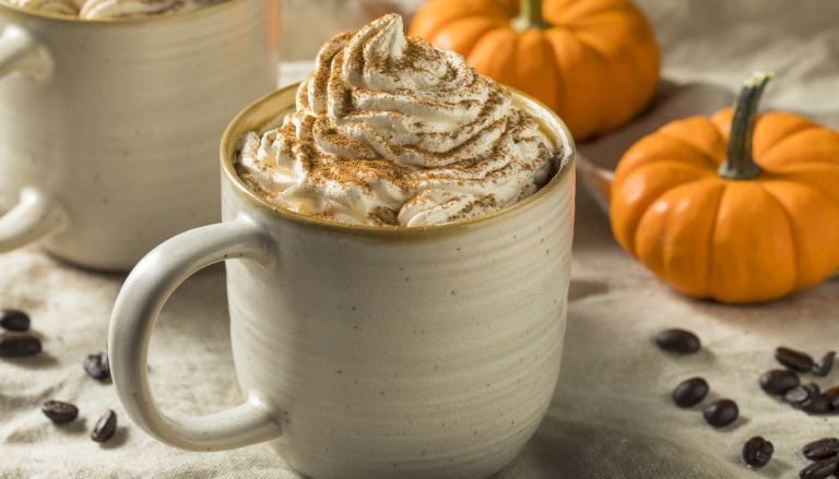 Sweet Autumn Pumpkin Spice Latte Coffee - stock photo