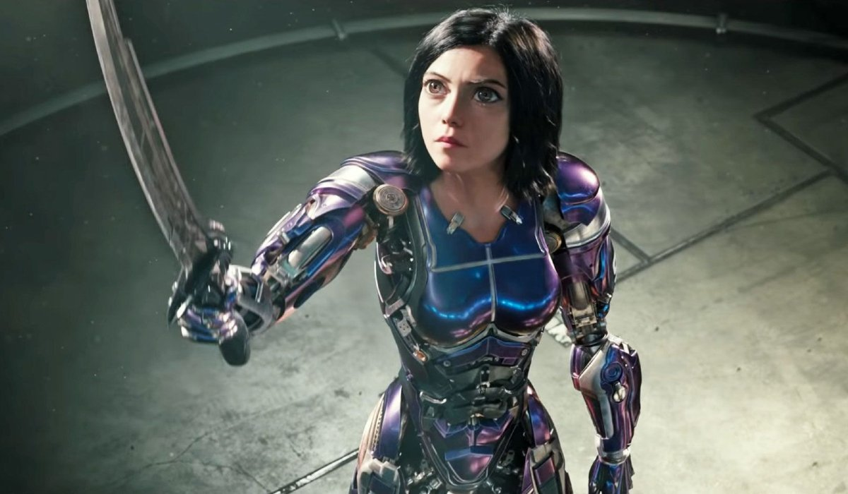 Alita: Battle Angel Alita raises her sword to the sky