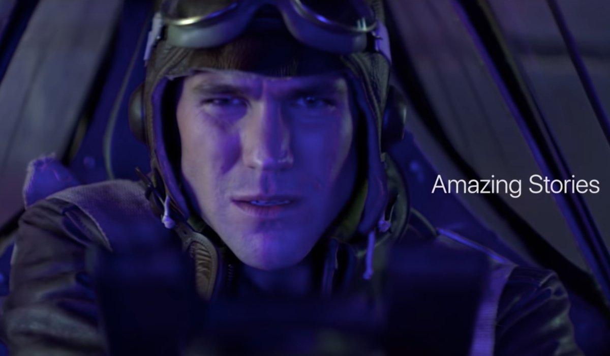 Amazing Stories a pilot bathed in purple light