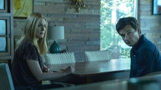 Laura Linney and Jason Bateman sit at a table on Ozark
