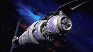 A thing of beauty. Babylon 5 was a space station 5 miles (8 kilometers) long and served as neutral territory for every alien race.