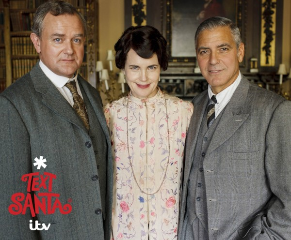 George Clooney with Hugh Bonneville, Elizabeth McGovern