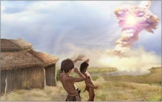 An artist's image of the last seconds in the prehistoric village of Abu Hureyra, where a fireball from the sky likely destroyed the village.